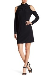Kensie Mock Neck Cold Shoulder Dress Black