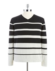 Perry Ellis V Neck Striped Sweater Natural