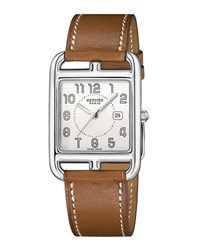 Hermes Cape Cod Stainless Steel And Leather Strap