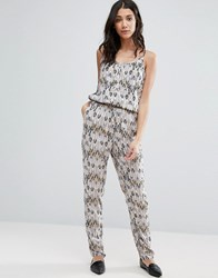 Vero Moda Printed Jumpsuit With Elasticated Waist Hollie Print Ash Multi