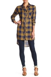 Dance And Marvel Collared Plaid Button Down Shirt Dress Blue