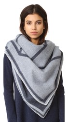 Tory Burch Fret Whipstitch Blanket Scarf Navy