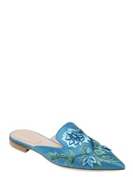Alberta Ferretti 10Mm Embroidered Satin Mules
