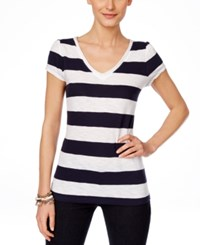Inc International Concepts Short Sleeve Striped T Shirt Only At Macy's Deep Twilight