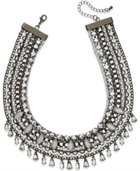 Bar Iii Hematite Tone Crystal And Multi Chain Statement Necklace Only At Macy's