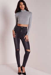 Missguided Vice High Waisted Ripped Knee Skinny Jeans Grey Grey