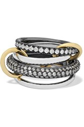 Spinelli Kilcollin Vega Set Of Four Sterling And Rhodium Plated Silver And 18 Karat Gold Diamond Rings 7