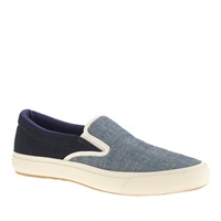 J.Crew The Hill Side Slip On Sneakers In Chambray Panama Cloth