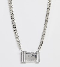 Asos Design Curve Necklace With Buckle Pendant In Silver Tone Silver