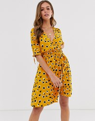 Influence Wrap Front Mini Dress In Splodge Print Yellow