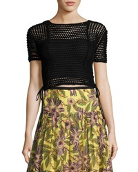 Red Valentino Short Sleeve Crochet Crop Top Black