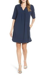 Bobeau Pleat Front Curved Hem Shirtdress Navy
