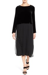 Eileen Fisher Women's Velvet And Silk Midi Length Shift Dress