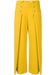 Genny Cropped Flared Trousers Yellow And Orange