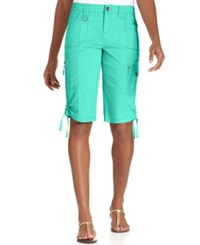 Styleandco. Style And Co. Zip Pocket Tummy Bermuda Shorts Pacific Aqua