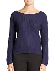Lord And Taylor Petite Wool Blend Waffle Knit Sweater Evening Blue