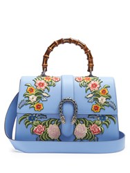 Gucci Dionysus Large Floral Embroidered Leather Tote Blue