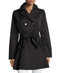 Laundry By Shelli Segal Cotton Blend Fit And Flare Trench Coat Black