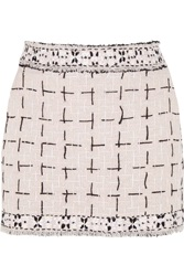 Meadham Kirchhoff Lala Embroidered Wool Boucle Mini Skirt Pink
