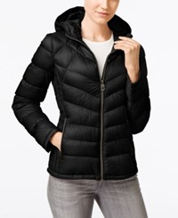 Michael Kors Petite Hooded Quilted Packable Down Puffer Coat Only At Macy's Black