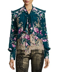 Roberto Cavalli Long Sleeve Floral Print Chiffon Blouse Teal