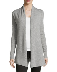 Neiman Marcus Cashmere Open Front Cardigan Heather Gray