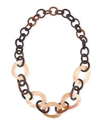 Viktoria Hayman Mixed Mother Of Pearl And Wood Link Necklace Brown Pink