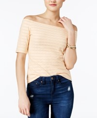 Guess Hadley Off The Shoulder Textured Top Creampuff