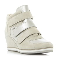 Geox Illusion D Velcro Sporty Wedge Trainers White