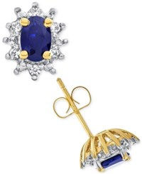 Macy's Lab Created Blue Sapphire 1 Ct. T.W. And White Sapphire 1 5 Ct. T.W. Stud Earrings In 14K Gold Plated Sterling Silver
