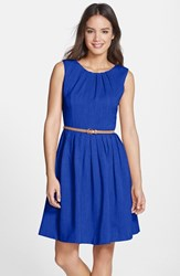 Petite Women's Ellen Tracy 'Kenya' Belted Pleated Cotton Fit And Flare Dress Cobalt