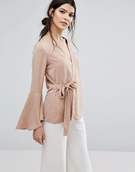 Neon Rose Tie Wrap Front Top With Fluted Sleeves Beige