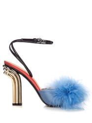Marco De Vincenzo Feather Embellished Mid Heel Sandals Blue Multi