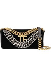 Tom Ford Triple Chain Small Embellished Leather Trimmed Velvet Shoulder Bag Black