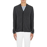 Barneys New York Men's Layered Detail Cashmere V Neck Cardigan Dark Grey