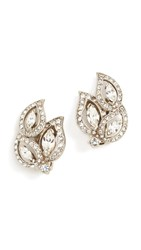 Ben Amun Trio Cluster Earrings Clear Silver