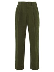 Haider Ackermann Knife Pleated High Rise Slubbed Linen Trousers Khaki Multi
