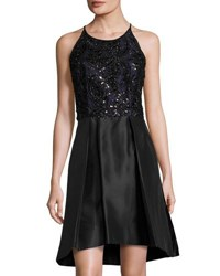Taylor Swirl Embellished Party Dress Black Metallic