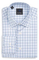 David Donahue Men's Big And Tall Regular Fit Check Dress Shirt Navy Sky