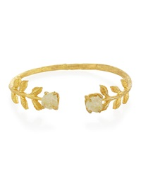 Nakamol Green Quartz Golden Flower Cuff Bracelet