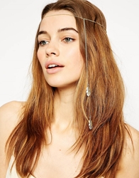 Asos Fine Chain Feather Crown Headband Gold