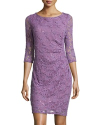 Marina 3 4 Sleeve Ruched Side Lace Dress Orchid