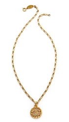 Wgaca Vintage Chanel Cc Crystal Necklace Gold Clear