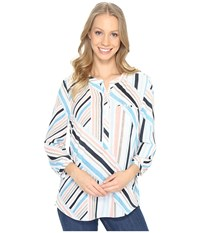 Nydj 3 4 Sleeve Pleat Back Beachfront Stripe Corsica Blue Women's Blouse Multi