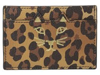 Charlotte Olympia Feline Card Holder Natural Leopard Print Goatskin Credit Card Wallet Animal Print