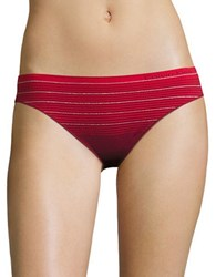 Calvin Klein Stretch Striped Bikini Panties Red