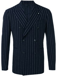 Lardini Double Breasted Pinstripe Blazer Men Cotton Polyamide Spandex Elastane Wool 46 Blue