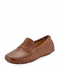 Neiman Marcus Steamer Lane Leather Loafer Brown