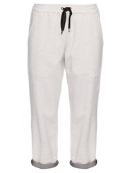 Brunello Cucinelli Chiffon Trim Cashmere Blend Track Pants White Multi