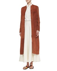 The Row Collarless Suede Long Coat